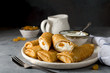 Pancakes stuffed with cottage cheese and raisins - 187959324