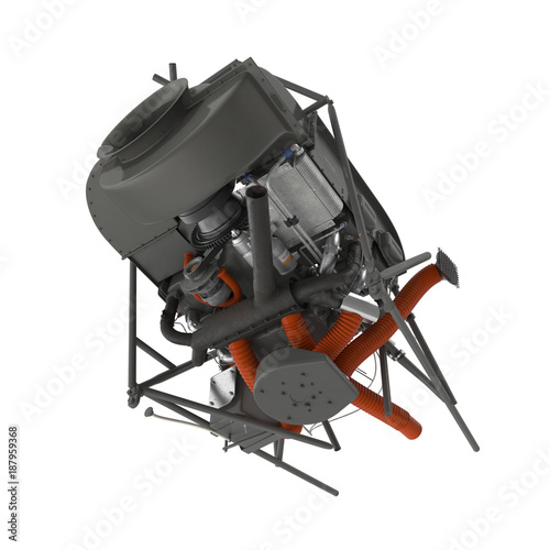 Fototapeta Light Helicopter Engine on white. 3D illustration