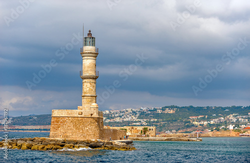 Old lighthouse in port of Chania on Crete island. Greece Poster