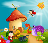 many insect and a mushroom house in forest
