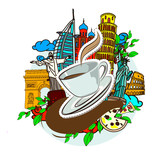 Falling a cup of coffee sticker, and famous buildings of the world, vector doodles illustration.