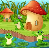 Frogs around a mushroom house