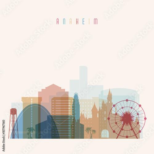 Anaheim state California, skyline detailed silhouette. Transparent style. Trendy vector illustration.