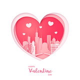 Valentines card. Paper cut heart and city of Chicago. Happy Valentine day. Vector illustration. - 187967317