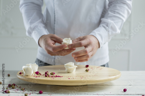 Poster confectionery decoration. making wedding or birthday marzipan roses