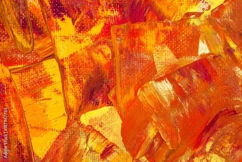 Hintergrund in Braun-Rot-Gold-Gelb-Orange-Pink, Textur, Leinwand, Gouache-Farbe, Gemälde, abstrakte Kunst  - 187967764
