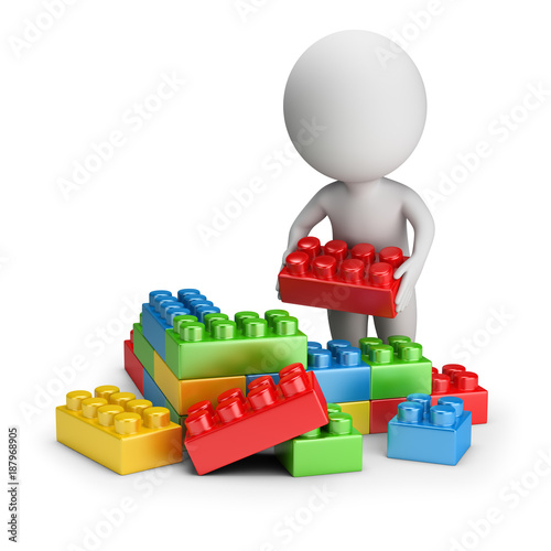 3d small people - toy blocks