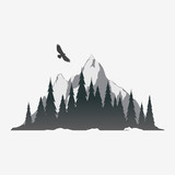 Coniferous forest silhouette with mountain peak