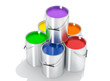 Silver Paint Buckets - 3D Rendering