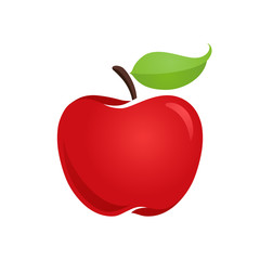 Apple icon isolated vector illustration, color drawing sign, symbol.