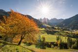 Autumn in the italian Dolomites Alps, Santa Maddalena, Funes Valley, Alto Adige, Italy