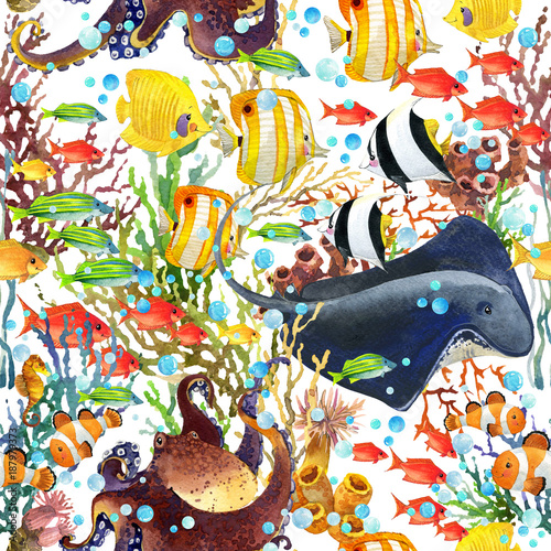 Deurstickers Graffiti coral reef seamless pattern. underwater world background. cartoon sea fish watercolor illustration.