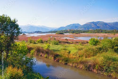 Aluminium Blauwe hemel Salt marsh . View of special nature reserve Solila - swamp area of the coastal part of the Bay of Kotor (Adriatic Sea). Tivat, Montenegro