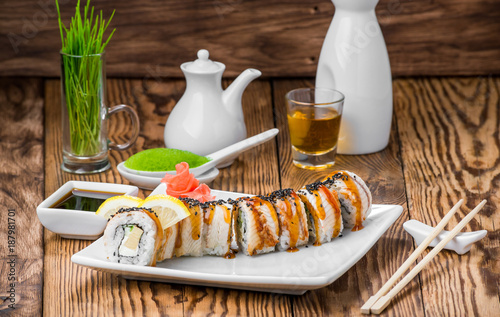 Foto op Canvas Sushi bar Japanese cuisine with fresh seafood