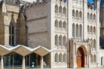 Front door of Guildhall in City of London, England