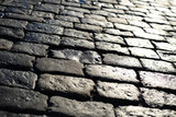Texture of stone pavement tiles bricks cobblestones background - 187990122