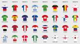 Sammlung von Vektor Fußball Trikots in National-Flaggen Design - 187990969
