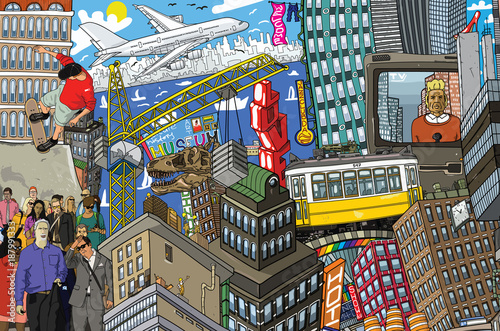Fridge magnet City, an illustration of a large collage, with houses, cars and people