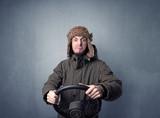 Man holding steering wheel - 187993114