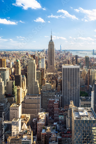 mata magnetyczna Manhattan Skyline in New York City mit Empire State Building, USA