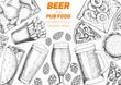 Pub food frame vector illustration. Beer, meat, french fries, fast food and snacks hand drawn. Food set for pub design top view. Vintage engraved illustration for beer restaurant. - 187996338