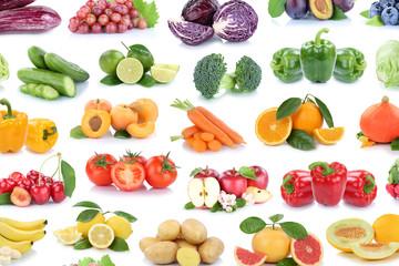 Obst und Gemüse Früchte Hintergrund Apfel Tomaten Zitronen Orangen Beeren Salat Farben Collage Freisteller freigestellt isoliert