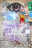Murales. Arte urbana con graffiti,simboli e segni surreali e bizzarri