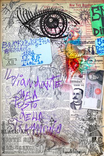 Imagination Murales. Arte urbana con graffiti,simboli e segni surreali e bizzarri