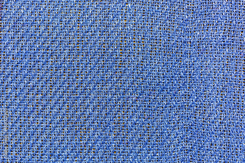 Background, texture, blue fabric closeup with interwoven strands - 188002904