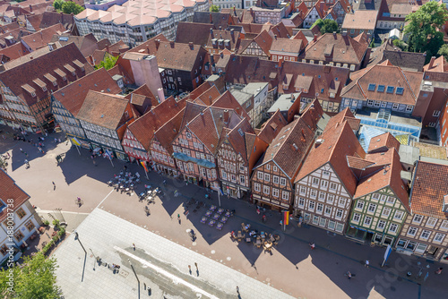 CELLE, GERMANY - JULY 18, 2016: Beautiful ancient colourful buildings in city center, aerial view. Celle is a famous attraction in Saxony - 188003738