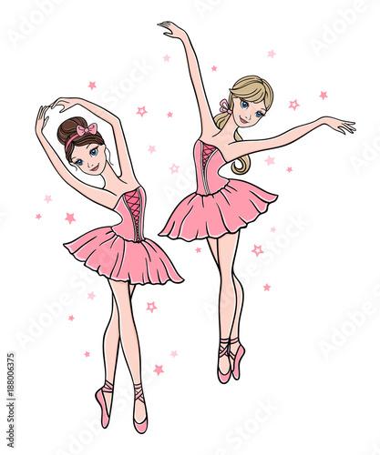 Fototapeta Set of cute ballerinas in pink tutu dresses