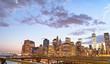 Manhattan at sunset from Brooklyn Bridge