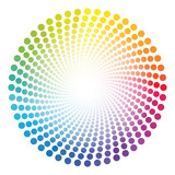 Spiral dots tube pattern - rainbow colored twisted circle illustration with white shining glowing center.