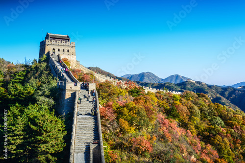 Fotobehang Peking The Great Wall of China. Located in Badaling, Beijing, China.