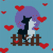 Knitted woolen seamless pattern for Valentine's Day. Black cat and a white kitty are sitting close to each other - 188020998
