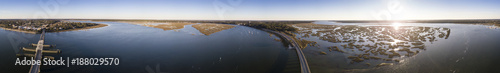Seamless 360 degree aerial panorama of bridge, town, and waterscape in Beaufort, South Carolina, USA. - 188029570