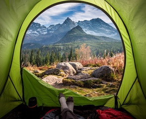 View from tent to the Tatras at sunset in autumn