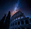 Quadro Beautiful Colosseum in Rome at night and milky way, Italy
