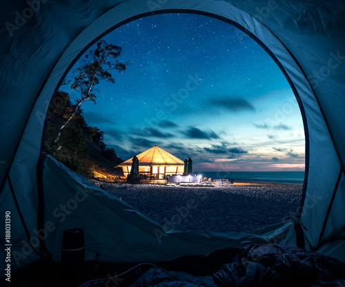 Foto Spatwand Strand Tent at beach in summer at night with stars