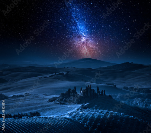 Deurstickers Toscane Milky way over farm of olive groves and vineyards, Tuscany