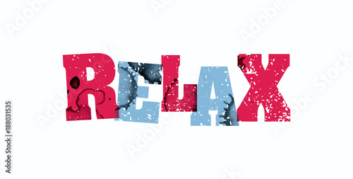 Relax Concept Colorful Stamped Word Illustration