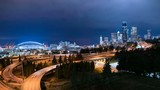 Seattle Downtown Skyline and Freeway Traffic Time Lapse  - 188031936