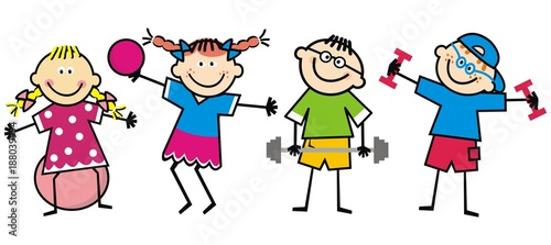 Happy kids, fitness, funny vector illustration - 188039994