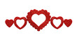 Line arrangement with red glitter hearts