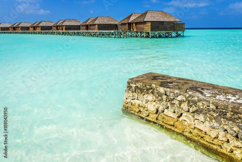 Luxury water villas on tropical Maldives island - 188043950