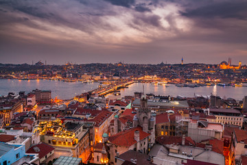 Panoramic view from Galata tower to Golden Horn, Istanbul, Turkey