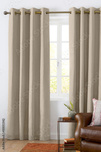 Foto Murales Room window with curtains. Interior living room