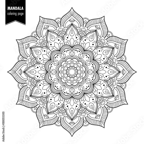 Monochrome ethnic mandala design. Anti-stress coloring page for adults. Hand drawn vector illustration