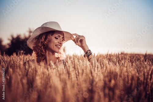 Beautiful woman in the field.