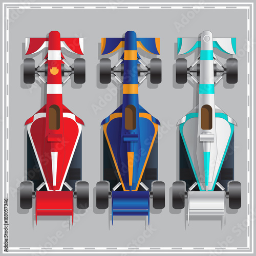Foto op Plexiglas F1 Set of racing cars. View from above. Vector illustration.